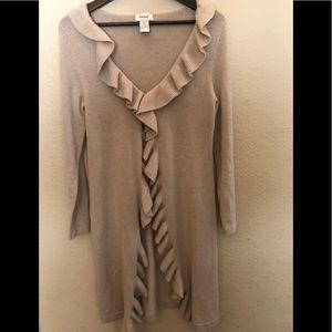 NEIMAN MARCUS CASHMERE long ruffle sweater tan S
